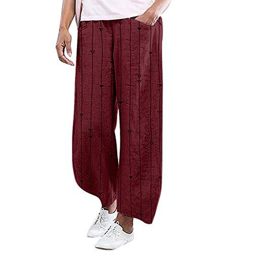 Amphia - Damen Leinenhose Yogahosen,Ladies 'Stripe Printing Elastic Force Pocket Lässige Hose mit weitem Bein