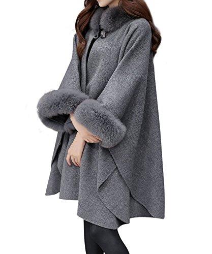 Huixin Abrigos De Mujer Invierno Fleece Ponchos De Pelo Cuello Alto Suelto Elegante Coat Outcoat Capas Colores Sólidos Más Grueso Abrigados Manga Larga