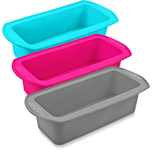 3 Pieces Silicone Loaf Pan Mold Non-Stick Rectangle Shape Bread Pan Silicone Cake Baking Mold for Homemade Break,Cake,Quiche,8.2'x3.3'x2.3'