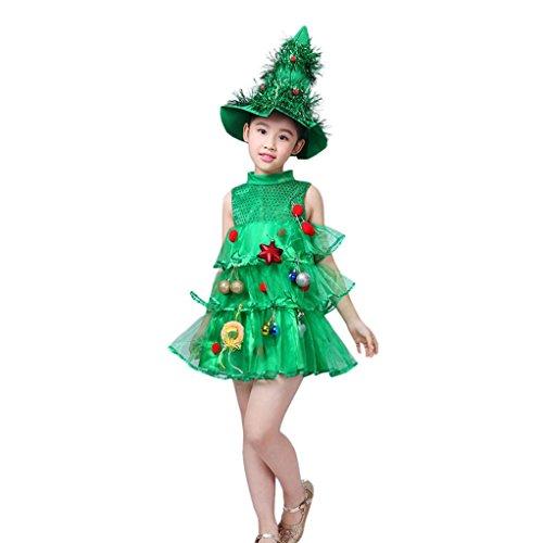 BBsmile Vestido de Navidad Niños bebés niñas Tops de Disfraces Party Vest + Trajes de Sombreros (Verde, 100)