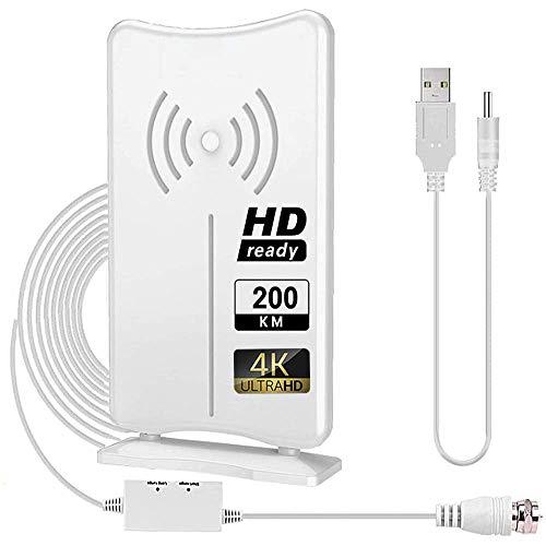Antena Interior TV,Antena de TV Digital TDT DVB-T/T2 HD para Interiores,Antena de TV de Alcance de 200KM con Amplificador de Señal,Adecuada para Canales de TV Gratis 1080P 4K con Cable Coaxial de 5M
