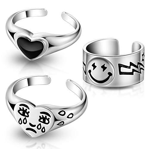3 Stücke Smiley Gesicht Ringe Weinen Trauriges Gesicht Tränen Tropfenringe Liebe Herz Ringe für Frauen und Mädchen (Silber)