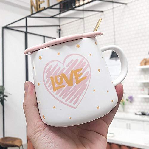 xingfuankang Taza con Letras Esmerilada Rosa Creativa con Tapa De Cuchara Tazas De Café Taza De Leche para El Desayuno Vasos Novedad Bonitos Regalos-04
