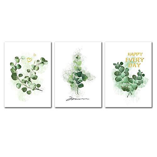 Suuyar Groene Planten Poster Bladeren Canvas Wall Art Landschap Poster Canvas Print Natuur Schilderij Foto Aquarel Art Prints-50x70cmx3pcs geen frame