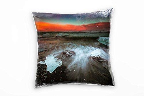 Paul Sinus Art Strand en zee, ijs, zonsondergang, bruin, decoratief kussen 40 x 40 cm, voor bank, sofa, lounge, sierkussen