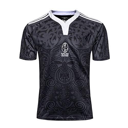 Herren Rugby Trikot, Neuseeland Maori All Blacks Weltmeisterschaft Atmungsaktives Training Fußball Kurzarm Sport Top T-Shirt Bequemes Poloshirt-M