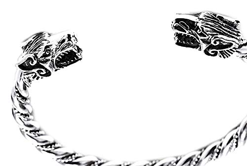 Windalf Großer Vikings Männer Armreif ARACOR Ø 6.5 cm Mit 2 Wikinger Wolfsköpfen Wikinger Krieger Schmuck Handarbeit 925 Sterlingsilber
