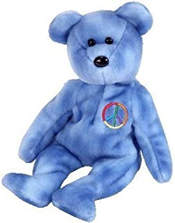 TY Beanie Baby - PEACE 2003 the Bear (Blue Version - Non-Colored Peace Sign ) (UK Exclusive) by Ty