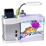 Reuvv USB Bureau Mini Poisson Aquarium LED Lampe Écran LCD Horloge pour Maison Bureau Tranquil Nature Sons, Aquarium Décorations - Blanc