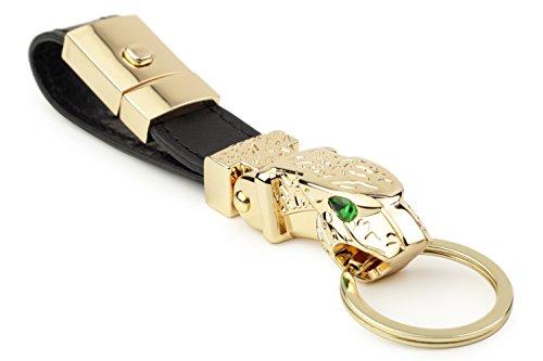 DPOB Luxus Jaguar Metall Autoschlüsselring, Straußenleder Leder Valet Keychain mit 3 Schlüsselanhänger (Gold)