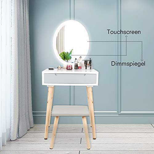 YU YUSING Schminktisch LED-Beleuchtung Kosmetiktisch mit gepolstertem Hocker Frisiertisch Spiegel Schublade Kommode Make-up Tisch, Wohnzimmer, Modern,Weiß