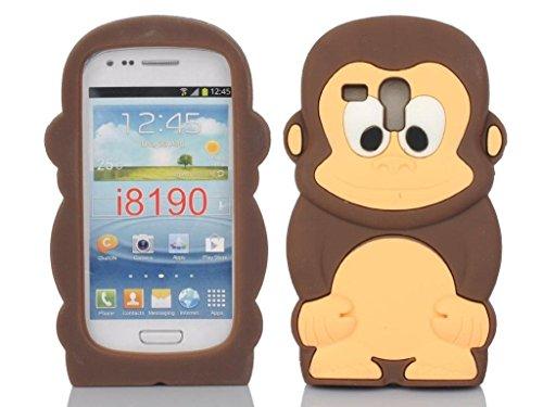 SKS Distribution® marrón Silicona Mono Monkey Funda/Carcasa/Cover para Samsung Galaxy S3 SIII Mini i8190