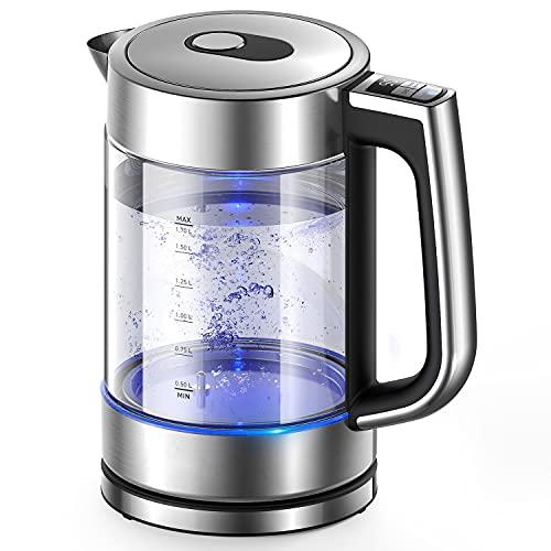Wasserkocher mit Temperatureinstellung, Edelstahl Glaswasserkocher mit Beleuchtung, 1.7 L, 2200W Schnellkochender Glas Teekessel mit 1Std. Warmhaltefunktion, BPA-frei Wasserkessel