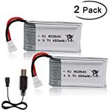Crazepony-UK 2PCS 3.7V 650mAh Lipo Batteria with USB Charger for RC UAV Drone Vehicle Syma Heliway...