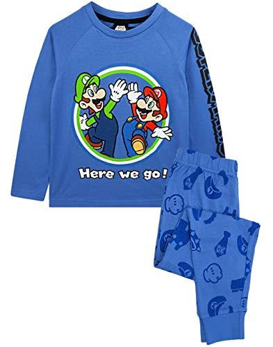 Super Mario Pijamas Luigi Boys Manga Larga Niños Camiseta Azul y Pantalones PJS 7-8 años