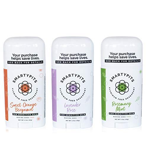 3 Pack Natural/Aluminum-Free Deodorant (baking soda free) Paraben Free, Phthalate Free, PROPYLENE GLYCOL FREE, Not Tested on Animals | 2.9oz (Lavender Rose, Sweet Orange, Rosemary Mint)