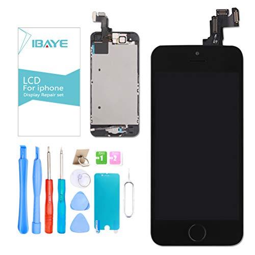 Ibaye Display LCD Schermo per iPhone 5S Nero Touch Screen Digitizer Parti di Ricambio (con Home Pulsante, Fotocamera, Sensore Flex) Utensili Inclusi