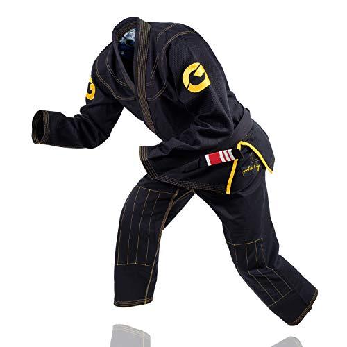Gold BJJ Jiu Jitsu Gi - Ultra Strong Weave Premium Kimono - Ibjjf Competition Approved Uniform (Black, A4)