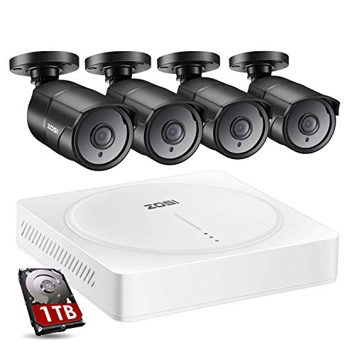 ZOSI H.265+ 1080p Home Security Camera System with Audio, 5MP-Lite CCTV DVR 8 Channel with Hard Drive 1TB and 4 x 2MP Surveillance Camera Outdoor Indoor, 150ft Night Vision, Video & Audio Recording