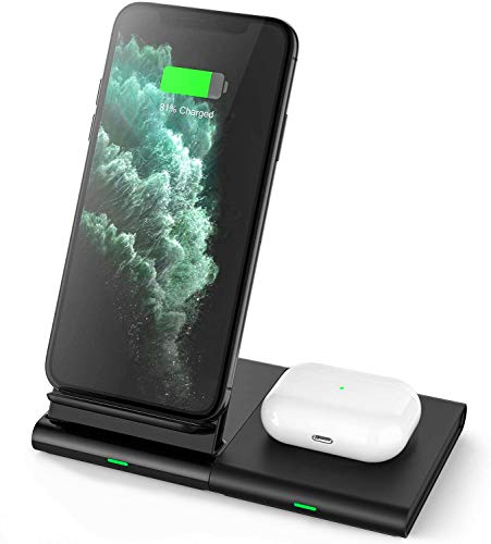 Hoidokly Caricatore Wireless Doppio 10W Ricarica Rapida Wireless Charger, Caricabatterie per Samsung Galaxy Watch/Buds/S20/S20 Ultra/S10e/S9/Note 10, iPhone SE2/11 Pro Max/XS/XR/X/8 Plus/Airpods 2/Pro