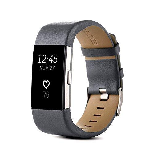 PINHEN für Fitbit Charge 2 Armband - Charge2 Echte Leder Armbänder Unisex Ersatzband mit Metall...