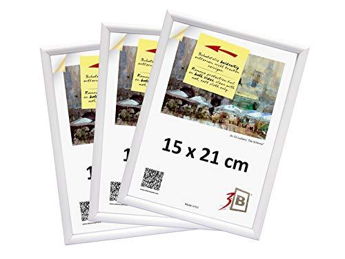 3-B Set de 3 pièces Cadres FOTO - 15x21 (A5) - Blanc - Cadre en Plastique, Cadre pour Photo