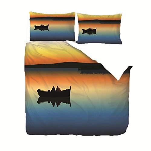DOORWD Bedding Set Copripiumino 3 Pezzi Uomo da Pesca al Lago al Tramonto 3D Stampa Bedding Comforter Copre con Chiusura a Cerniera Adatto a Bambini Adulti Camera da Letto 220X240cm