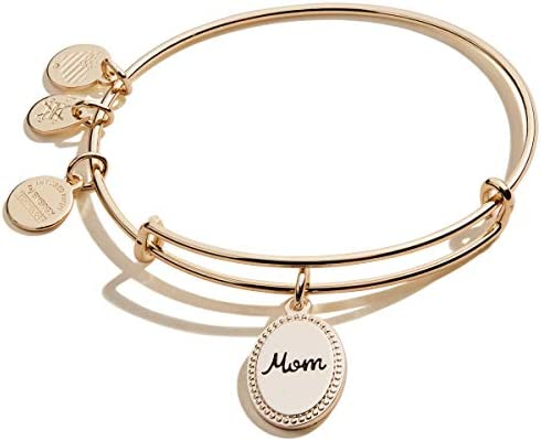 Alex and Ani Because I Love You Mom Expandable Wire Bangle Bracelet for Women I Love You Charm product image