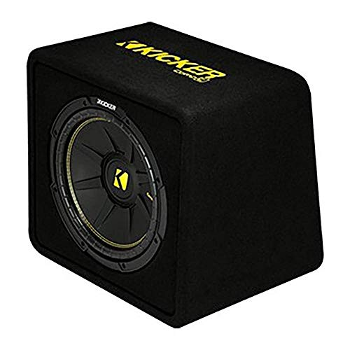 KICKER 44VCWC124 CompC 12 Inch 600 Watt 4 Ohm Compact Vented Loaded Thin Profile Car Audio Subwoofer Enclosure Box with Ported Design