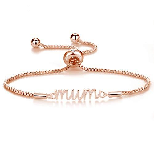 Philip Jones Rose Gold Mum Bracelet Created with Austrian Crystals