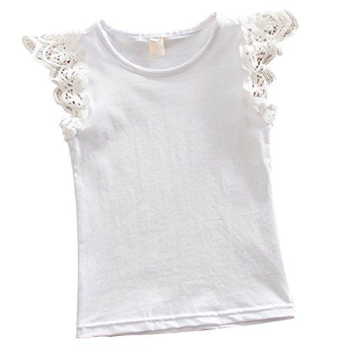 kayla qin Baby Infant Girls Vest Tanks Tops Pure Cotton Wing Lace Basic T-Shirt 3 Month-5 Years (1-2 Years, White)