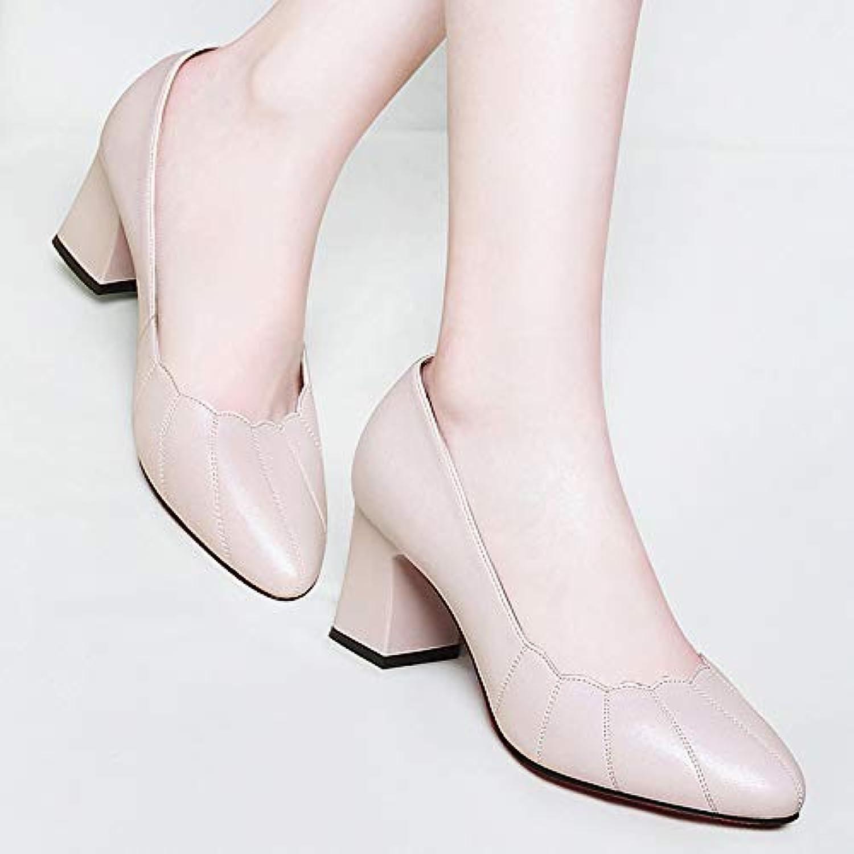 HOESCZS Frühling Damen Flacher Mund Hochhackige Schuhe Schuhe Schuhe Weibliche Spitze Dick Mit High Heels Schwarz Frühling Frauen Schuhe  a43a2b
