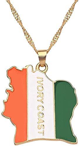 Collar Mapa del país Bandera Collar África Guinea Ghana Liberia Submarino Jamaica Sudáfrica Congo Honduras Colgante Cadena Hombre Collar de joyería