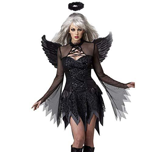 Femmes Halloween Party Retro Manches Courtes Une Ligne Robe Dentelle Patchwork Costume d'ange Noir Sexy Costume de Chauve-Souris Vêtements pour Animaux Jeu de rôle Jupe Asymétrique