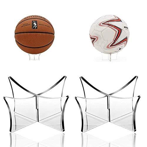 Wohlstand 2 Piezas Soportes de Bolas Acrílicos,Soporte de Exhibición de Bolas,Transparente Soporte de Fútbol,Exhibición de Baloncesto Soporte de Estante de Bola,para Voleibol, Bola de Bolos Rugby