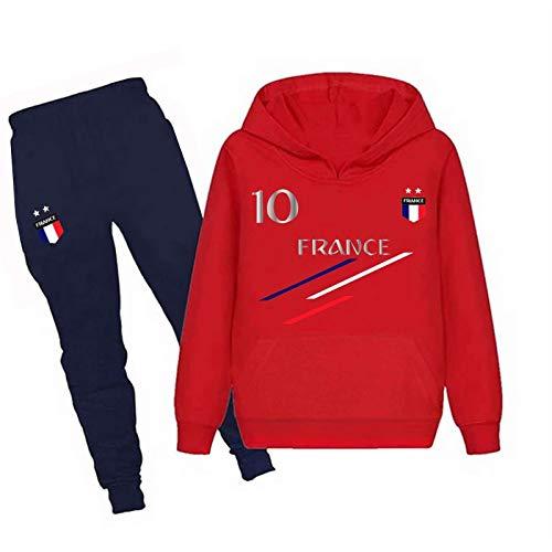 JHK Jogging survêtement de Football France 2 étoiles Enfant - Rouge - 3/4 Ans