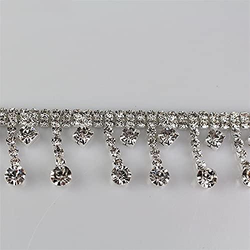 BJKKM Cadena de Copa de Diamantes de imitación 1 Yarda de Borla Corta Colgante Rhinestones Trim Fringe Crystal Metal Cadena para Vestido, Bolsa, Zapatos Accesorios Usado para; Coser/Adhesivo