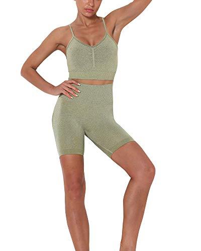 GuoCu Señoras Conjuntos de Chándales Deportivos Fitness Running Trajes De 2 Piezas Ropa de Yoga Tank Top Sujetador Deportivo y Pantalones Cortos para Correr en el Gimnasio Ejercito Verde S