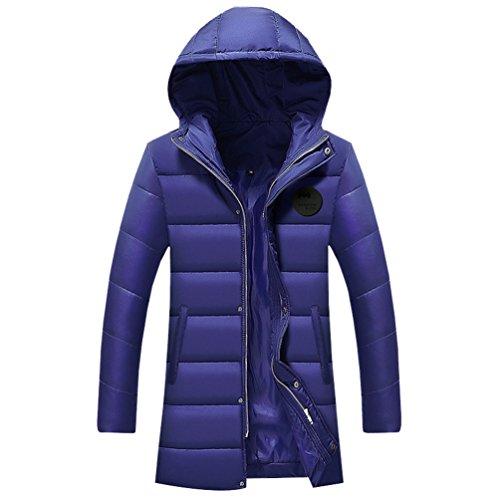 YuanDian Uomo Invernali Casuale Lunghi Imbottito Piumini Cappotto con Cappuccio Addensare Caldo Impermeabile A Prova di Vento Giaccone Parka