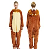 Disfraz De Animal Unisex para Adulto Sirve como Pijama O Cosplay Sleepsuit De Una Pieza Marrón Y Blanco El Rey León