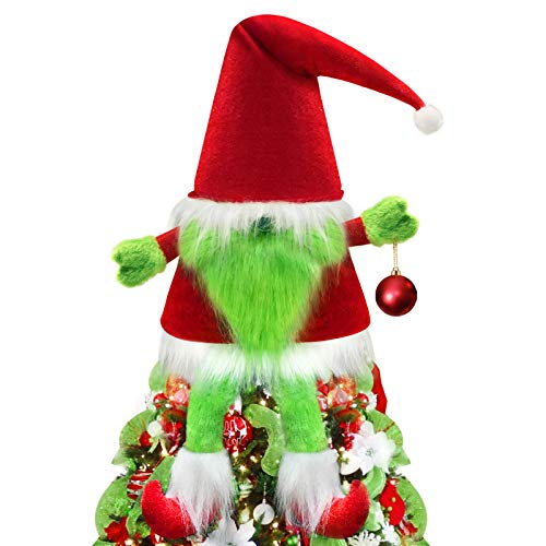 ORIENTAL CHERRY Christmas Tree Topper - Large Xmas Gnomes Hat Toppers - Unique Holiday Decorations Funny Home Decor - Red White Green