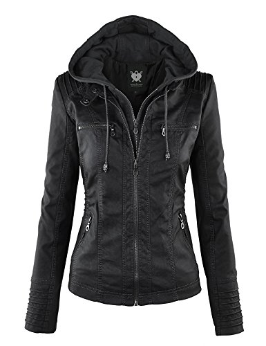 LL WJC663 Womens Removable Hoodie Motorcyle Jacket L BLACK