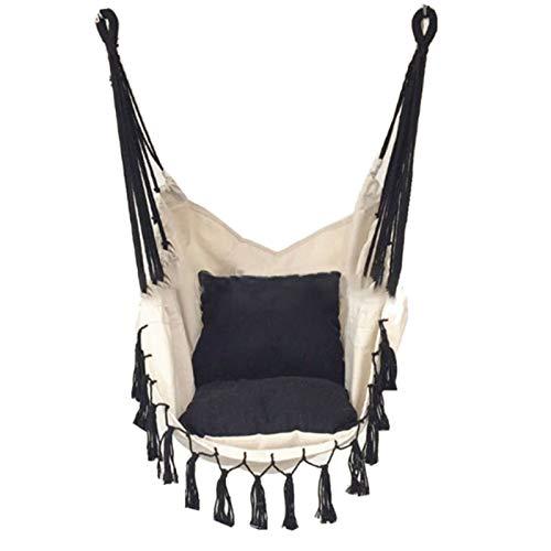 Gesh - Sedia sospesa con nappa, per adulti e bambini, per interni, con cuscino in tela