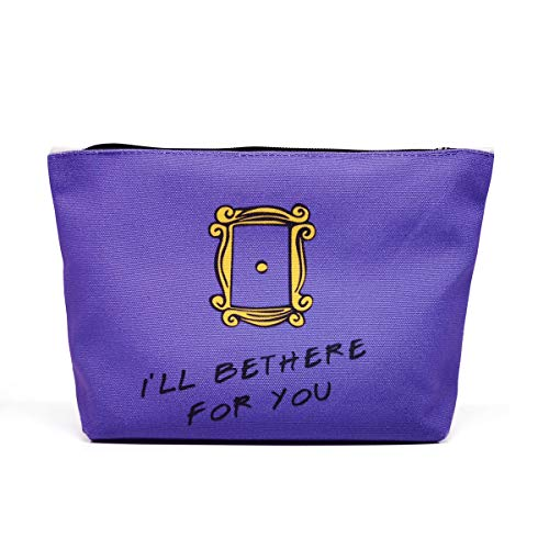 Ihopes Friends Quotes Makeup Bag Cotton Zipper Pouch | Friends TV Show 100% Natural Cotton Cosmetic Travel Bag Make-Up Case Pencil Pouch Gifts for Women Friend Sister Friends Fan(Purple)