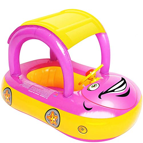 iGeeKid Baby Inflatable Pool Float with Canopy Car Shaped Babies Swim Float Boat with Sunshade Safty Seat for Toddler Infant Swim Ring Pool Spring Floaties Summer Beach Outdoor Play Pink