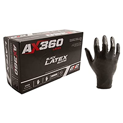 212 Performance Gloves LXG-05-008 Disposable Black Latex Gloves, Small