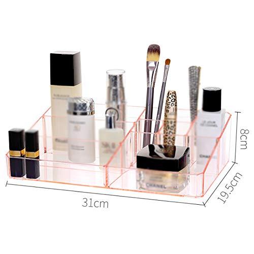 Ampliación de maquillaje Organizador de acrílico, lápiz labial para cosmética caja de almacenamiento de cepillo del maquillaje tabla del sostenedor de escritorio del envase 31 * 19.5 * 8cm,Rosado