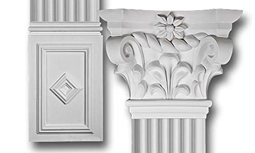 DreamWallDecor Decorative Interior Column - Scroll Top Flat Column Set Made from Dense Architectural Polyurethane Compound