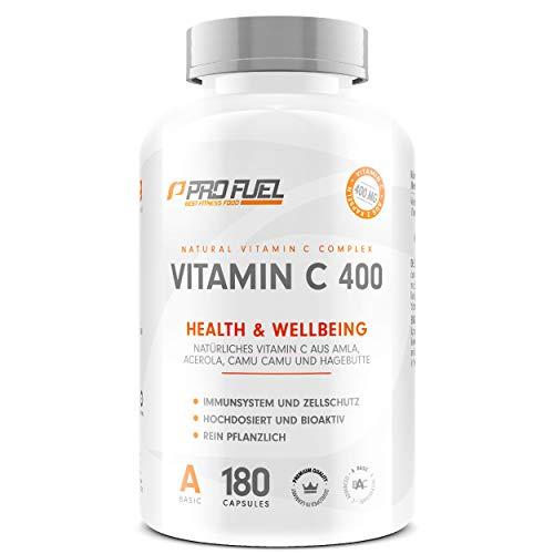 Natürliches VITAMIN C | 400mg Vitamin C Komplex aus Amla, Acerola, Camu-Camu & Hagebutten | 180 vegane Vitamin C Kapseln | 3 Monatsvorrat | Made in Germany