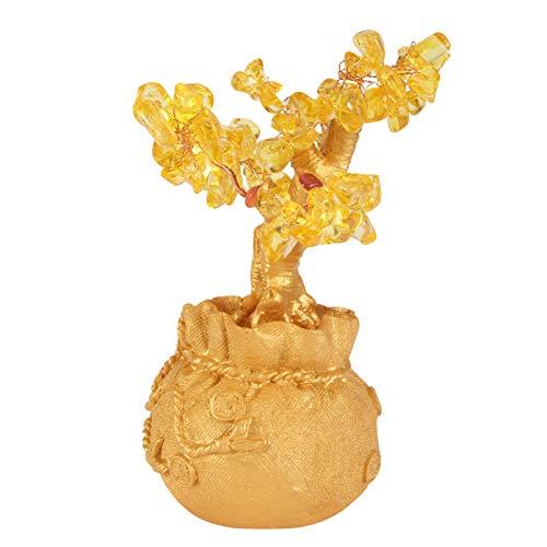 PRETYZOOM Natural De Cristal Árvore Do Dinheiro Citrino Feng Shui Bonsai Árvore Sorte Fortuna Riqueza Moedas Árvores Artificiais Estatueta Decoração de Mesa para Casa Escritório